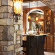 Stone Archway in Affluent Home - Stock Photo