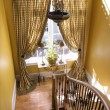 Curtained Window on Stair Landing — Stockfoto