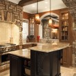 Kitchen Interior With Stone Accents in Affluent Home - Stock Photo