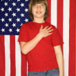 Boy with American flag. - Stock Photo