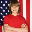 Boy with American flag. — 图库照片