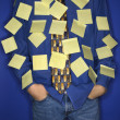 Stock Photo: Boy covered with sticky notes.