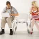 Woman flirting with man. — Stock Photo