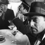 Three retro men at bar. — Stock Photo