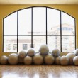 Stock Photo: Balance Balls on Floor in Gym