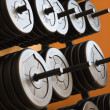 Stacked barbells with weights. — Lizenzfreies Foto