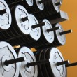 Stacked barbells with weights. — Stock Photo