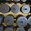 Stacks of barbell weights. — Stock Photo