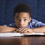 宿題をやっている少年 — ストック写真