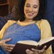 Pregnant woman reading book. - Stock Photo