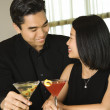 Attractive Young Couple With Cocktails Smiling — Stock Photo