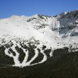 Photo: Ski resort trails on mountain.