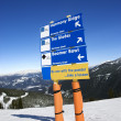 Ski resort trail direction signs. - Stock Photo