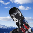 Snowboard and mountain. — Stock Photo