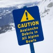 Snow ski caution sign. - Stock Photo