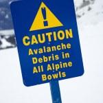 Snow ski caution sign. — Stock Photo
