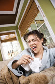Young Sick Woman Sneezing — Stock Photo