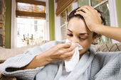 Ill Young Woman Blowing Nose — Stock Photo