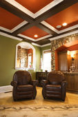 Brown Leather Chairs in Upscale Living Room — Foto de Stock