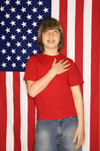 Boy with American flag. — Stok fotoğraf