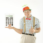 Man holding calculator. — Stock Photo