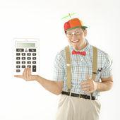 Man holding calculator. — Stock Photo