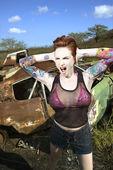 Sexy tattooed woman. — Stock Photo
