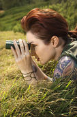 Woman spying. — Stock Photo