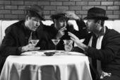 三个复古商人. — 图库照片