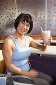 Woman with health shake. — Stock Photo