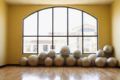Balance Balls on Floor in Gym — Stock Photo