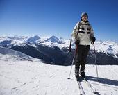 Man on ski slopes. — Stock Photo