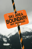 Ski area trail boundary sign. — Stock Photo