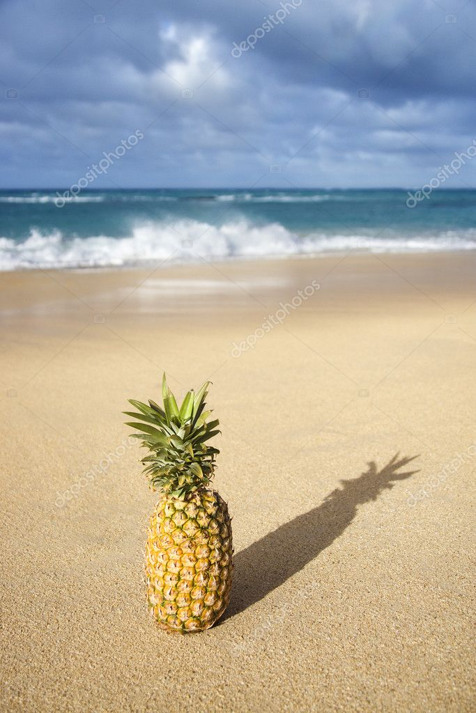 Whole pineapple on tropical beach. — Stock Photo #9363384