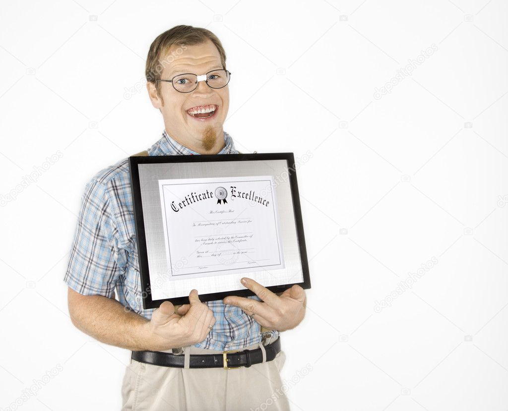 Caucasian young man dressed like nerd holding certificate and smiling. — Stock Photo #9364221