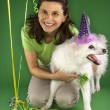Stock Photo: Dog birthday party.