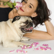 Woman with Pug dog. — Stock Photo