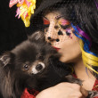 Woman with Pomeranian dog. — Stock Photo