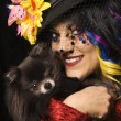 Stock Photo: Womwith Pomeranidog.