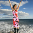 Woman on beach. - Stock Photo