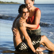 Happy couple on beach. — Stock Photo #9428961