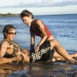 Couple playing on beach. — Stock Photo #9428962