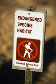 Endangered species habitat sign. — Stock Photo