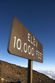 Elevation sign in Haleakala, Maui. — Stock Photo