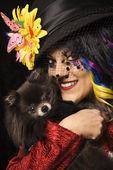 Woman with Pomeranian dog. — Stock Photo
