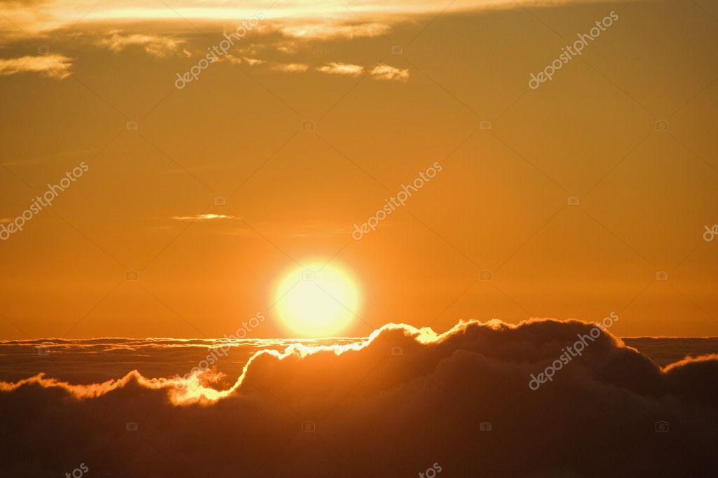 Aerial of sunrise in Haleakala National Park in Maui, Hawaii.  Stock Photo #9424759