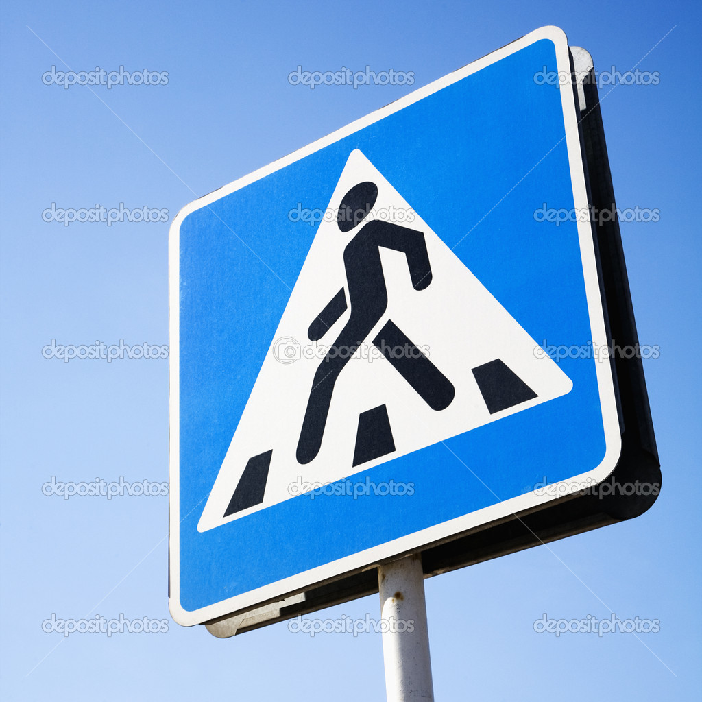 Blue pedestrian crossing street sign in Moscow, Russia. Square format.  Stock Photo #9424804