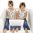 Girl twins with laptop computer. — Stok fotoğraf