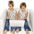 Girl twins with laptop computer. — Stockfoto