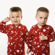 Twin boy brothers holding hands. — Stock Photo #9433743
